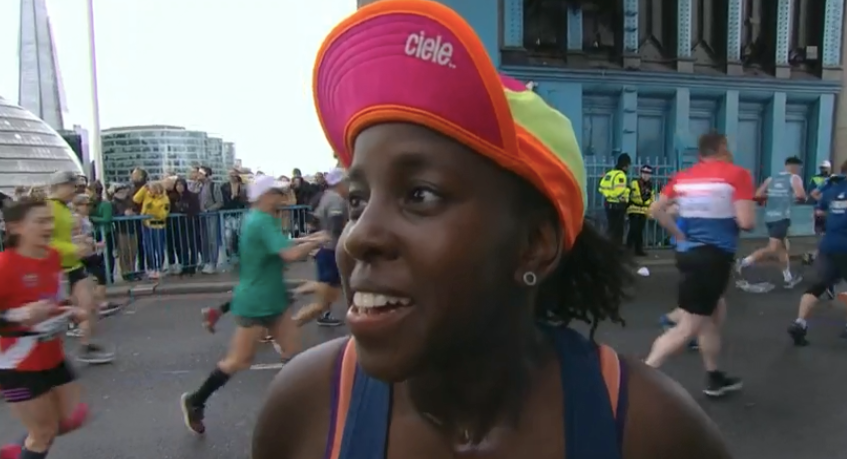 Mum running London Marathon stopped to breastfeed eight-month-old baby [Image: BBC]