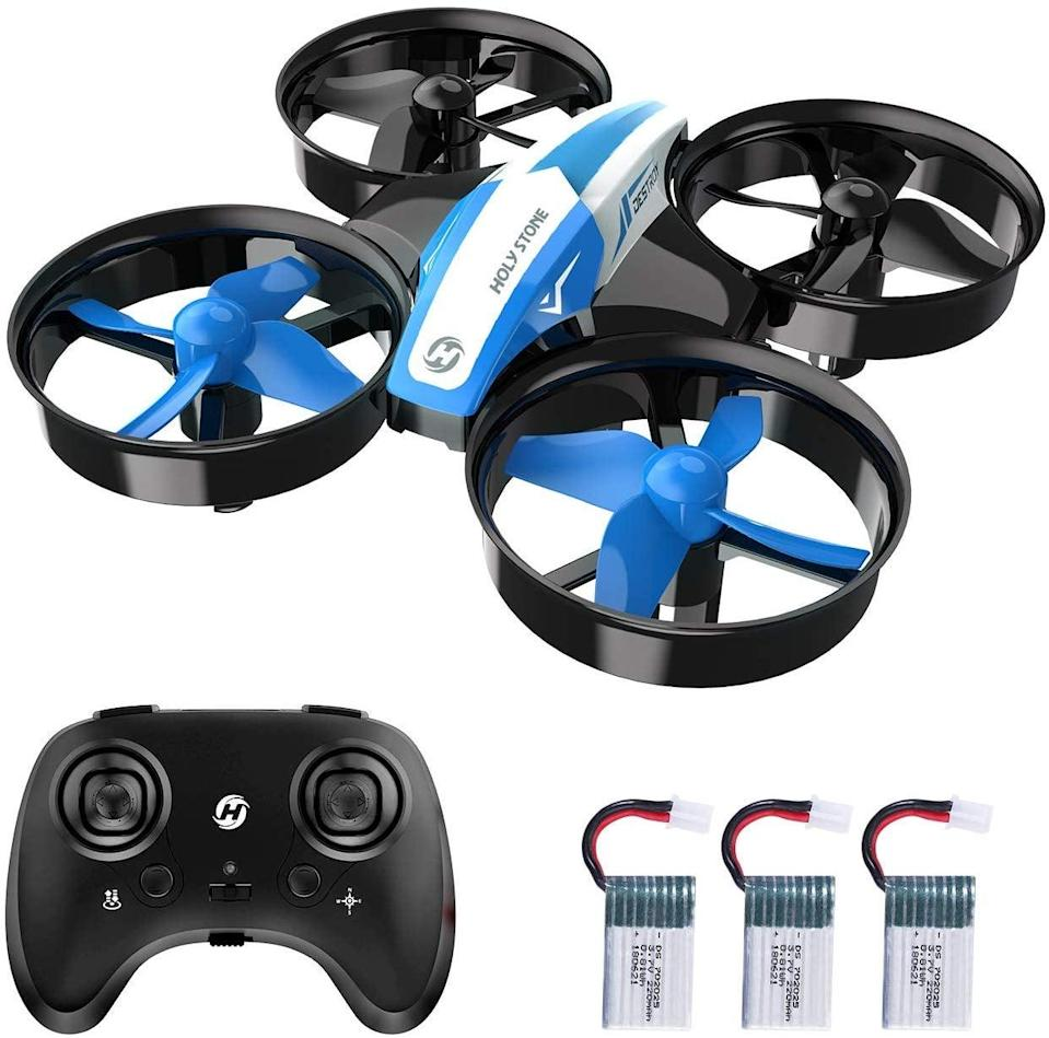 """<p>If they've ever been curious about drones, this <a href=""""https://www.popsugar.com/buy/Holy-Stone-Mini-Drone-Nano-Quadcopter-499138?p_name=Holy%20Stone%20Mini%20Drone%20Nano%20Quadcopter&retailer=amazon.com&pid=499138&price=28&evar1=geek%3Aus&evar9=26294675&evar98=https%3A%2F%2Fwww.popsugartech.com%2Fphoto-gallery%2F26294675%2Fimage%2F46729136%2FHoly-Stone-Mini-Drone-Nano-Quadcopter&list1=shopping%2Cgadgets%2Choliday%2Cgift%20guide%2Choliday%20living%2Ctech%20gifts%2Cgifts%20under%20%24100&prop13=mobile&pdata=1"""" class=""""link rapid-noclick-resp"""" rel=""""nofollow noopener"""" target=""""_blank"""" data-ylk=""""slk:Holy Stone Mini Drone Nano Quadcopter"""">Holy Stone Mini Drone Nano Quadcopter</a> ($28) is a perfect option for beginners, and so fun to use!</p>"""