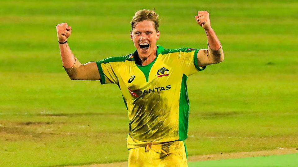 Nathan Ellis took a hat-trick in his T20 debut for Australia in July. (Photo by Md Manik/SOPA Images/LightRocket via Getty Images)