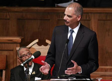 U.S. Attorney General Eric H. Holder speaks during the Community Memorial Service at 16th Street Baptist Church in Birmingham, Alabama