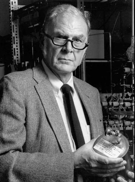 FILE - This 1989 photo provided by the University of California Irvine shows F. Sherwood Rowland, one of three chemists who shared the 1995 Nobel Prize for chemistry for discovering that a byproduct of aerosol sprays, deodorants and other consumer products could destroy the earth's atmospheric blanket. Rowland died at his Corona Del Mar, Calif. home on Saturday, March 10, 2012. He was 84. (AP Photo/University of California Irvine, File)