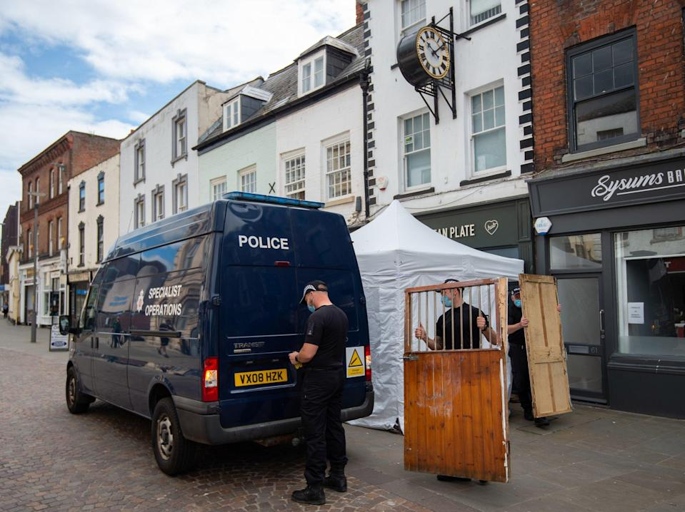Police are looking for the remains of Mary Bastholm, a suspected teenage victim of Fred West, at a cafe in Gloucester (Joe Giddens/PA)