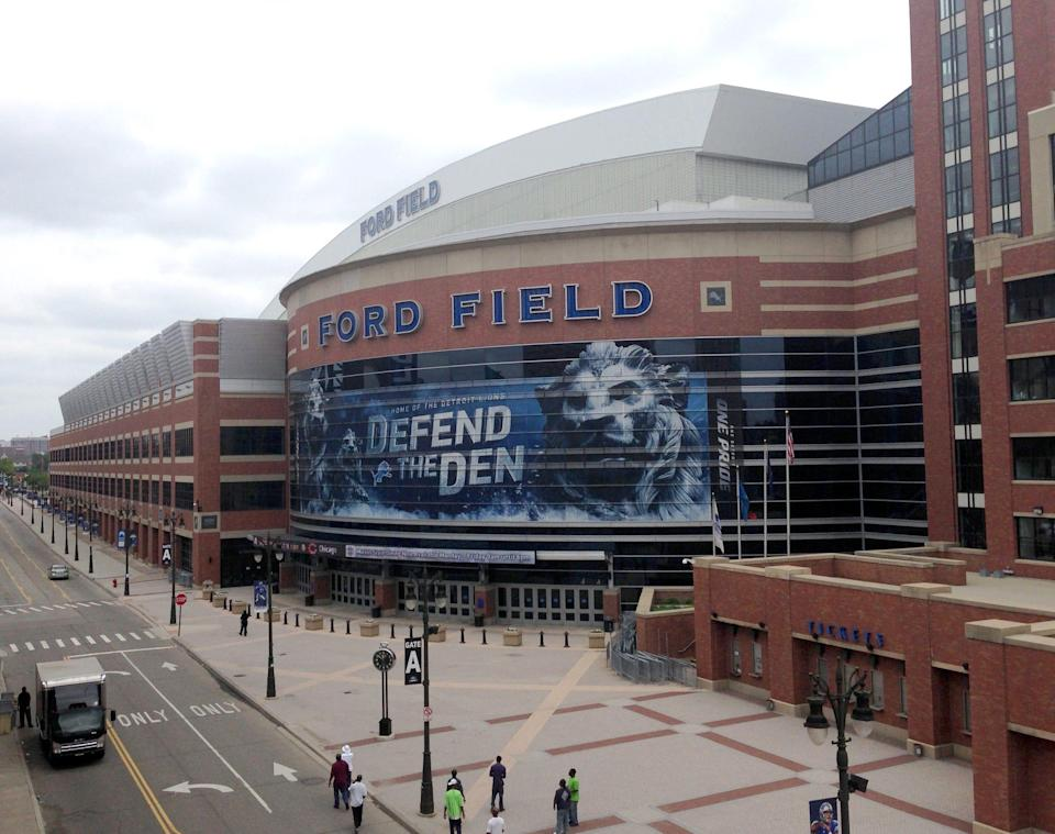 Exterior of the home of the Detroit Lions, Ford Field in downtown Detroit.