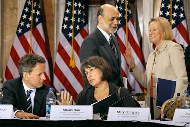 (L-R) Treasury Secretary Timothy Geithner, FDIC Chairman Sheila Bair, Fed Chairman Ben Bernanke and SEC Chairman Mary Schapiro visit after the open portion of a meeting of the Financial Stability Oversight Council November 23, 2010. (Chip Somodevilla/Getty Images)
