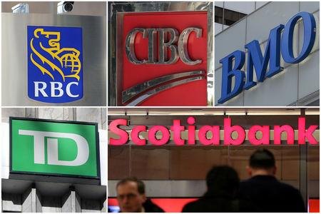 FILE PHOTO: A combination photo shows Canadian investment banks RBC CIBC BMO TD and Scotiabank in Toronto