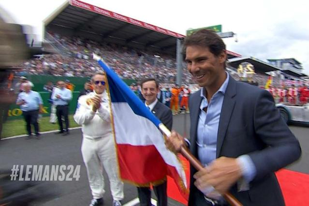 Spanish tennis star Rafael Nadal, fresh from his 11th Roland Garros title last week, on Saturday waved the flag to start compatriot Fernando Alonso and the other 59 cars in the 24 Hours of Le Mans.