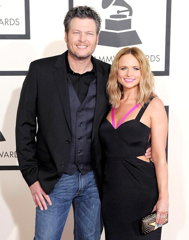 Blake Shelton and Miranda Lambert in February 2015. (Photo by Jon Kopaloff/FilmMagic)
