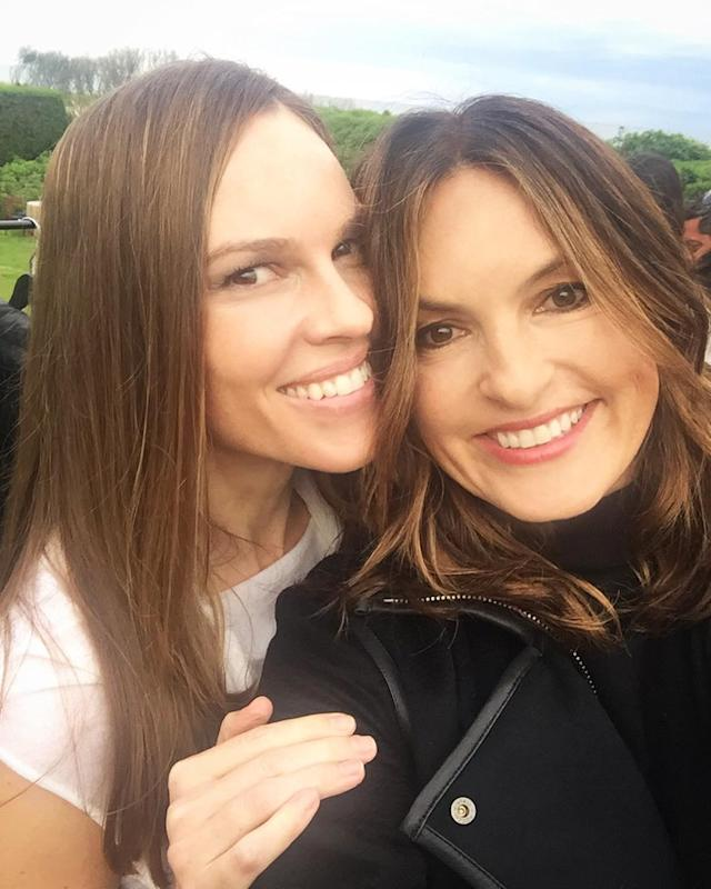"<p>""Celebrating #memorialdayweekend in the #Hamptons with @therealmariskahargitay,"" the Oscar winner explained. The friends were obviously having a blast! (Photo: https://www.instagram.com/p/BUnh1ASFk-g/?hl=en) </p>"