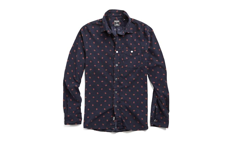 "$198, Todd Snyder. <a href=""https://www.toddsnyder.com/collections/sale/products/italian-micro-cord-medallion-shirt-navy"" rel=""nofollow noopener"" target=""_blank"" data-ylk=""slk:Get it now!"" class=""link rapid-noclick-resp"">Get it now!</a>"