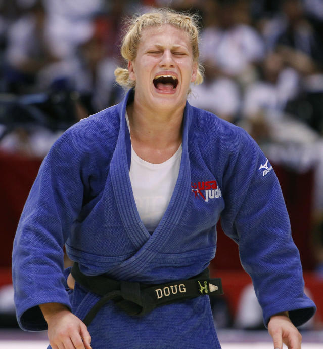 Kayla Harrison of the United States reacts after she won the women's under 78 Kg category final of the World Judo Championships against Mayra Aguiar of Brazil in Tokyo Thursday, Sept. 9, 2010. Harrison became the first American woman to win a gold medal at the judo world championships since 1984. (AP Photo/Shizuo Kambayashi)