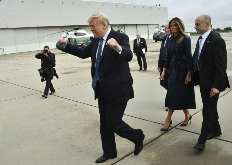 US President Donald Trump arrives at John Murtha Johnstown-Cambria County Airport in Johnstown, Pennsylvania