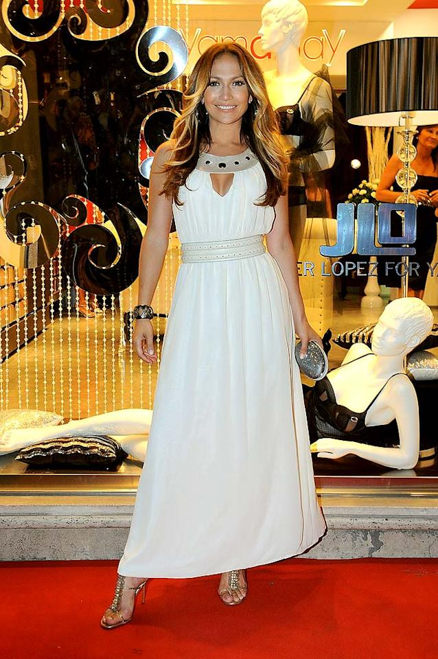"""Seriously, has J.Lo ever looked better?! We think not! The 40-year-old diva extraordinaire rocked Rome while promoting her new underwear line in a chiffon goddess gown and bejeweled T-bar sandals. <a href=""""http://www.infdaily.com"""" target=""""new"""">INFDaily.com</a> - July 30, 2009"""
