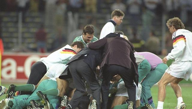<p>During over two hours of unbearable tension at Italia '90, West Germany made the phrase 'penalty shootout' go on to see grown men reach for the nearest pillow to sob uncontrollably, whilst diving for cover behind the sofa. </p> <br><p>The Germans were a rising force in football at the time and having lost to Diego Maradona's Argentina at Mexico '86, Beckenbauer's men were intent on going the distance.</p> <br><p>After a cagey opening period, West Germany were awarded a free-kick on the hour mark from just outside the penalty area.</p> <br><p>Paul Parker raced out to block Andreas Brehme's shot but in doing so, flipped the ball up into the air. The ball spun and arced over Peter Shilton in the England goal and looped into the net.</p> <br><p>Gary Lineker's equaliser led to an extra time saw a battle of wills between the two sides, which led to the iconic moment of Paul Gascoigne bursting into tears after receiving a booking which would rule him out of the final.</p> <br><p>After six immaculate penalties, Stuart Pearce's effort was blocked by the feet of Illgner to plunge a nations into despair.</p> <br><p>A sheer bloody-minded Chris Waddle stepped up knowing he had to score, but with the adrenaline coursing through his veins, smashed his left-footed high over the bar and sent England crashing out in the cruelest of ways.</p> <br><p>For England fans, Nessun Dorma will never sound the same. </p>