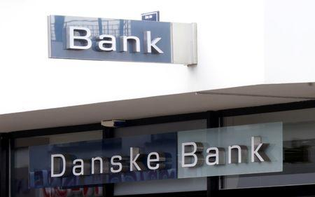 Danske bank logo is seen on a branch office in Riga