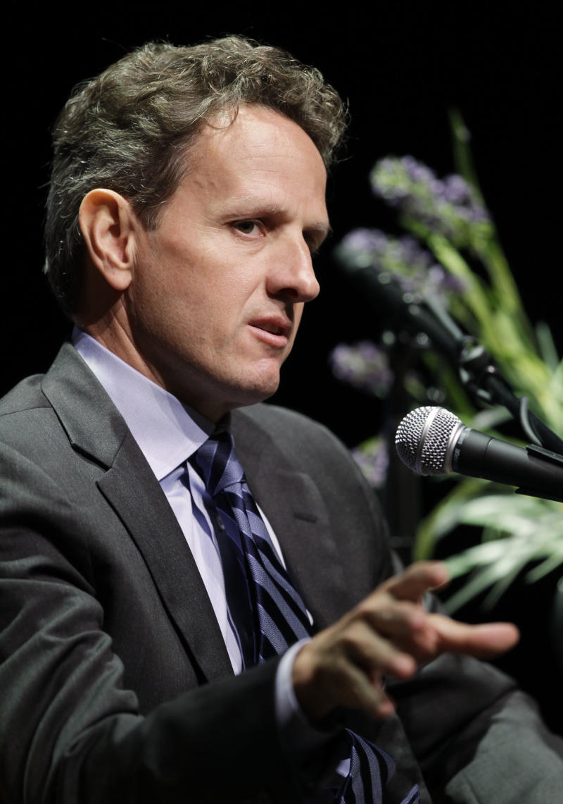 Treasury Secretary Timothy Geithner  gestures during a talk to the Commonwealth Club in Palo Alto, Calif., Monday, Oct. 18, 2010. (AP Photo/Paul Sakuma)  Treasurery