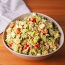 """<p>The perfect work-from-home lunch! Plus, it'll make you feel super healthy, while tasting great. </p><p>Get the <a href=""""https://www.delish.com/uk/cooking/recipes/a35445122/zesty-mediterranean-quinoa-salad-recipe/"""" rel=""""nofollow noopener"""" target=""""_blank"""" data-ylk=""""slk:Zesty Mediterranean Quinoa Salad"""" class=""""link rapid-noclick-resp"""">Zesty Mediterranean Quinoa Salad</a> recipe.</p>"""