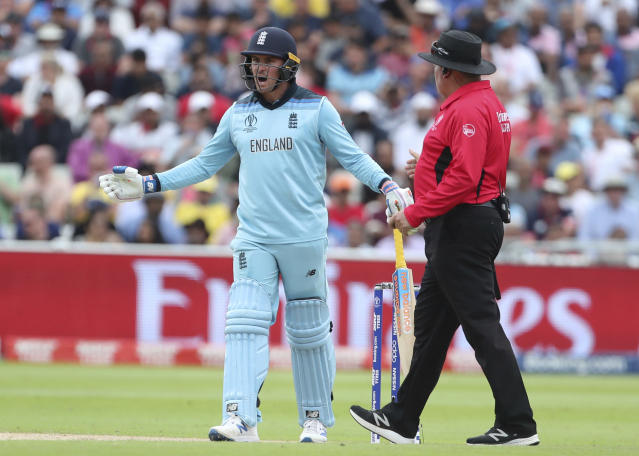 England's Jason Roy gestures to the umpire after he was given out during the Cricket World Cup semi-final match between England and Australia at Edgbaston in Birmingham, England, Thursday, July 11, 2019. (AP Photo/Aijaz Rahi)