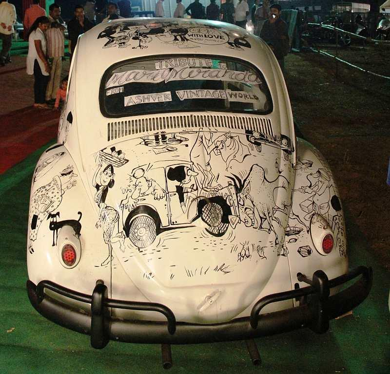 A creative tribute to the legendary cartoonist Mario Miranda at the vintage car rally. Miranda, one of India's best-loved cartoonists, died in December 2011.