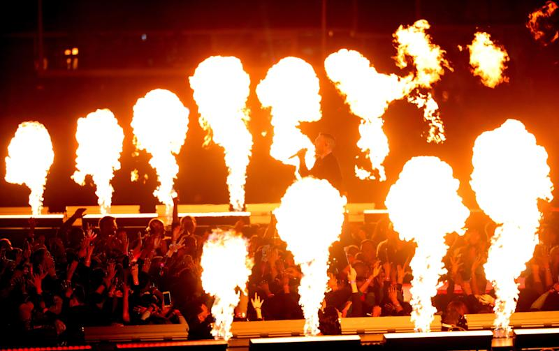 The show featured LOTS of pyrotechnics. (Photo: Streeter Lecka via Getty Images)