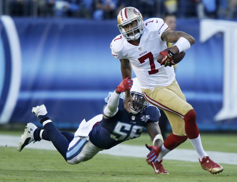 San Francisco 49ers quarterback Colin Kaepernick (7) gets past Tennessee Titans linebacker Akeem Ayers (56) during the second half of an NFL football game on Sunday, Oct. 20, 2013, in Nashville, Tenn. (AP Photo/Wade Payne)