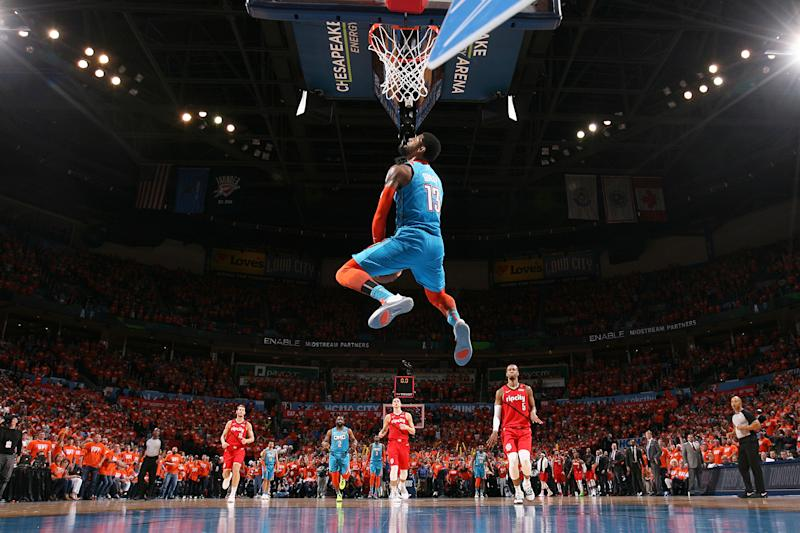 OKLAHOMA CITY, OK - APRIL 19: Paul George #13 of the Oklahoma City Thunder dunks the ball against the Portland Trail Blazers during Game Three of Round One of the 2019 NBA Playoffs on April 19, 2019 at Chesapeake Energy Arena in Oklahoma City, Oklahoma. (Photo by Joe Murphy/NBAE via Getty Images)