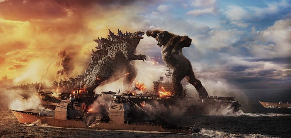 """(L-r) GODZILLA battles KONG in Warner Bros. Pictures' and Legendary Pictures' action adventure """"GOZILLA VS. KONG,"""" a Warner Bros. Pictures and Legendary Pictures release. (Warner Bros.)"""