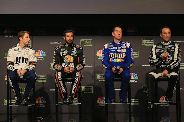 There wasn't much to glean from the 10 minutes the four title-contending drivers were on stage together. (Getty)