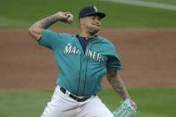 Seattle Mariners starting pitcher Taijuan Walker throws against the Oakland Athletics during the fifth inning of a baseball game, Friday, July 31, 2020, in Seattle. (AP Photo/Ted S. Warren)