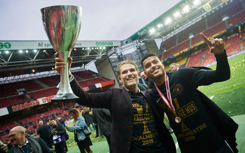 Rasmus Ankersen, president of FC Midtjylland and Evander Ferreira of FC Midtjylland celebrate after the Danish Cup Final - GETTY IMAGES
