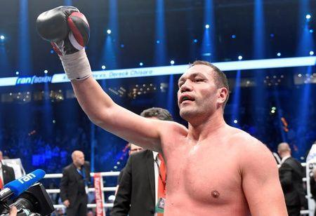 File Photo: Boxing - European boxing heavyweight championship fight - Hamburg, Germany - 7/5/16 -Bulgaria's Kubrat Pulev celebrates after his fight against England's Dereck Chisora REUTERS/Fabian Bimmer