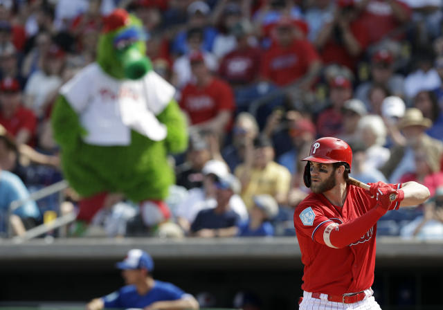 372b611a25f Philadelphia Phillies  Bryce Harper bats against the Toronto Blue Jays  during the third inning of