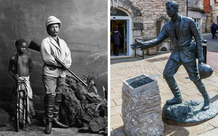 Welsh explorer and journalist Sir Henry Morton Stanley and, right, his statue in Denbigh
