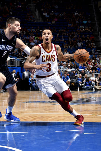 ORLANDO, FL - NOVEMBER 5: George Hill #3 of the Cleveland Cavaliers handles the ball against the Orlando Magic on November 5, 2018 at Amway Center in Orlando, Florida. (Photo by Fernando Medina/NBAE via Getty Images)