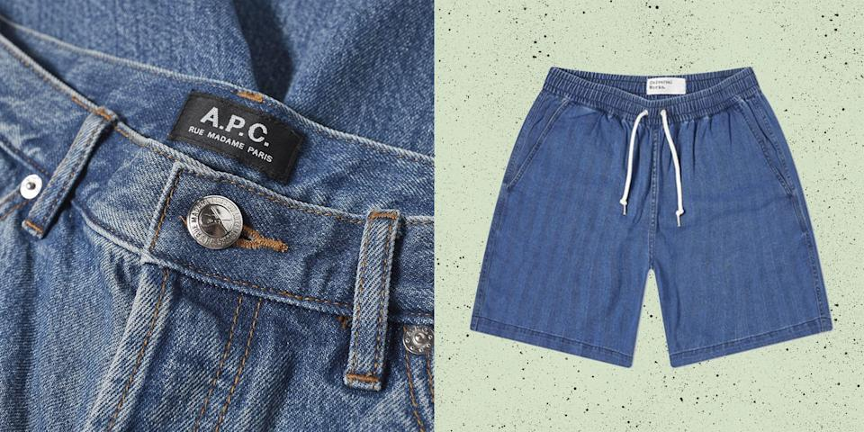 """<p class=""""body-dropcap"""">Men's denim shorts: a tale of three acts. At one end, cropped jean shorts – or jorts, as the fasssssion class likes to call them – were seen as the g0-to of burly, chiselled """"construction workers"""" that did more heavy lifting at feral hen dos than on building sites. Across the aisle, wider men's denim shorts were a summer staple of bland suburban bliss; of dads who tuck in <a href=""""https://www.esquire.com/uk/style/g27112719/best-mens-polo-shirts/"""" rel=""""nofollow noopener"""" target=""""_blank"""" data-ylk=""""slk:polo shirts"""" class=""""link rapid-noclick-resp"""">polo shirts</a> and struggle to show real emotion. And somewhere in the middle, Fred Durst, and a thousand early Noughties nu metal fans that liked their shorts how they liked their fringes: long. And unwashed, preferably. </p><p>In recent years however, these three disparate camps have pitched up on friendlier ground. As Instagram and Love Island (worryingly) normalises beast mode muscles, clothes have gotten sexier because the people are getting sexier. Thus, skimpy jorts aren't just for Dreamboys; they're increasingly seen on the guys with thighs capable of crushing a watermelon. Just as dadcore lost its irony, so too did the shorts. """"You betcha"""" suburbia has much menswear currency. And as for the Limp Bizkit throwbacks? Workwear go-to Dickies and ascendant French designer Jacquemus have both heralded a new age for over-the-knees. They're cool in 2021, and a damn sight cleaner (which we mean in every sense of the word). </p><p>That's not to say this summer will be solely one of men's denim shorts. It's hard to imagine them overtake the <a href=""""https://www.esquire.com/uk/style/a36737432/swim-shorts-you-can-wear-everywhere/"""" rel=""""nofollow noopener"""" target=""""_blank"""" data-ylk=""""slk:multipurpose swim short"""" class=""""link rapid-noclick-resp"""">multipurpose swim short</a>, or breezy five inch inseamers from brands like <a href=""""https://www.esquire.com/uk/style/a33581812/true-tribe-summer-menswear/"""" rel=""""nofollow"""