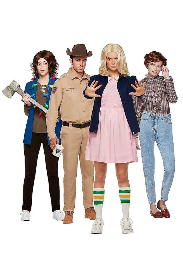 "<p>$15 and up</p><p><a rel=""nofollow"" href=""https://www.spirithalloween.com/ensemble/group-couples/stranger-things/stranger-things/pc/1429/c/0/sc/4394/193.uts?"">SHOP NOW</a></p><p>There's no such thing as using too many '80s references when you're dressed up as these classic Netflix characters.</p>"