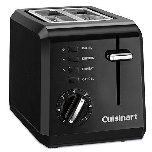 """<p><strong>Cuisinart</strong></p><p>amazon.com</p><p><strong>$37.99</strong></p><p><a href=""""https://www.amazon.com/dp/B00K0ZT1BO?tag=syn-yahoo-20&ascsubtag=%5Bartid%7C10055.g.4921%5Bsrc%7Cyahoo-us"""" rel=""""nofollow noopener"""" target=""""_blank"""" data-ylk=""""slk:Shop Now"""" class=""""link rapid-noclick-resp"""">Shop Now</a></p><p>If you'd rather not give up too much counter space or live in a house or dorm with a small-sized kitchen, the Cuisinart 2-Slice Compact Toaster (6.5 x 11 x 7 inches) is your best bet. The settings (bagel, defrost and reheat) are easy to read and select, and it unfailingly toasts bread to golden brown doneness. More perks: The Cuisinart's <strong>slots are wide enough to accommodate thick bagels</strong>. </p>"""