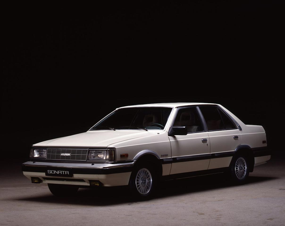 <p>The Sonata is initially launched in a bid to re-brand the Korean-market Hyundai Stellar as an executive sedan. It is powered by four-cylinder engines from Mitsubishi and uses a front-engine, rear-drive platform from the British Ford Cortina. This one never makes it to the United States.</p>