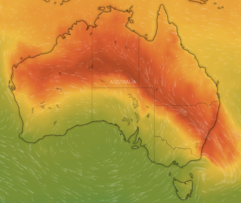 A map of Australia portraying Sunday's temperatures. Source: Windy