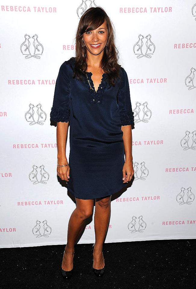 "Rashida Jones kept things cute and simple in the navy silk dress she wore to see Rebecca Taylor's new collection. Dimitrios Kambouris/<a href=""http://www.wireimage.com"" target=""new"">WireImage.com</a> - September 11, 2008"