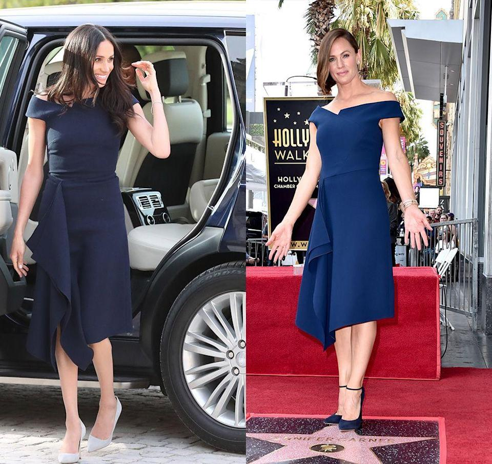 """<p>Jennifer Garner looked like royalty when she accepted her star on the Hollywood Walk of Fame in 2018—especially since only a few months earlier the Duchess of Sussex wore the same <a href=""""https://www.harpersbazaar.com/celebrity/latest/a20747039/meghan-markle-roland-mouret-dress-cliveden-house/"""" rel=""""nofollow noopener"""" target=""""_blank"""" data-ylk=""""slk:Roland Mouret dress"""" class=""""link rapid-noclick-resp"""">Roland Mouret dress</a> the night before her wedding to Prince Harry. </p>"""