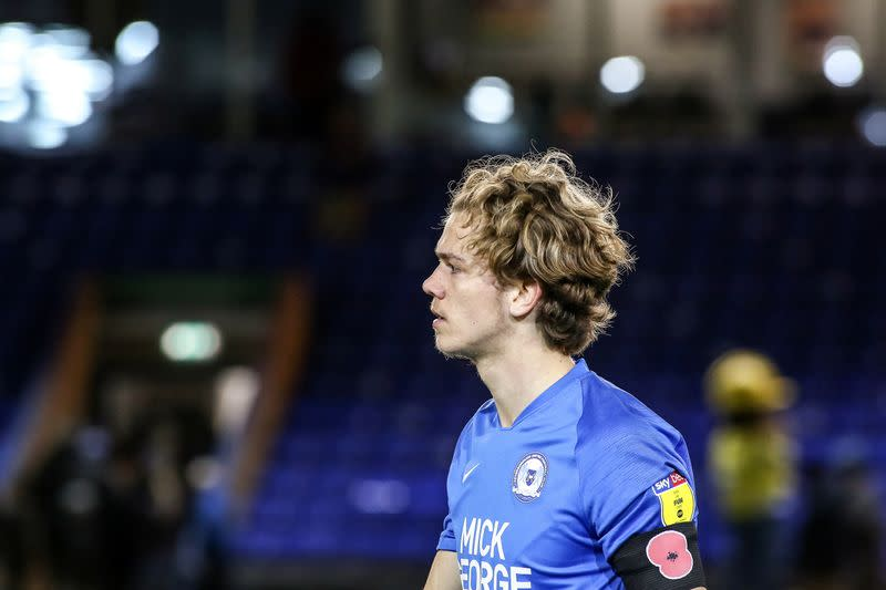 Bobby Copping in action on his Peterborough United debut at Weston Homes Stadium
