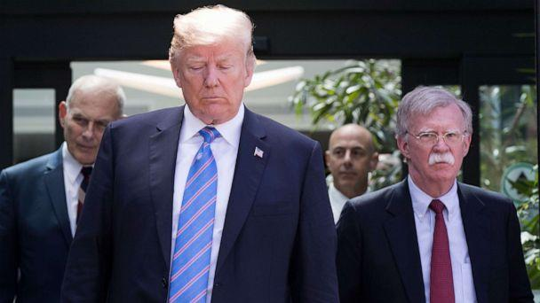 PHOTO: In this June 9, 2018, file photo, President Donald Trump, with National Security Advisor John Bolton (R) and White House Chief of Staff John Kelly (L), leaves the G7 summit in La Malbaie, Quebec. (Lars Hagberg/AFP via Getty Images, FILE)