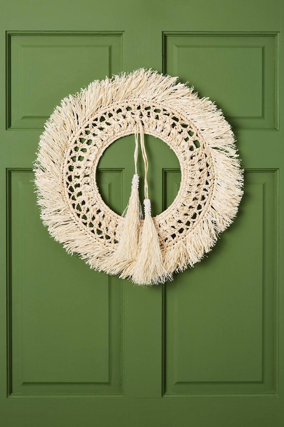 """<p>The natural style of the <a href=""""https://www.popsugar.com/buy/Meadow-Woven-Wreath-490562?p_name=Meadow%20Woven%20Wreath&retailer=anthropologie.com&pid=490562&price=68&evar1=casa%3Aus&evar9=46615300&evar98=https%3A%2F%2Fwww.popsugar.com%2Fhome%2Fphoto-gallery%2F46615300%2Fimage%2F46615433%2FMeadow-Woven-Wreath&list1=shopping%2Canthropologie%2Choliday%2Cchristmas%2Cchristmas%20decorations%2Choliday%20decor%2Chome%20shopping&prop13=mobile&pdata=1"""" rel=""""nofollow noopener"""" class=""""link rapid-noclick-resp"""" target=""""_blank"""" data-ylk=""""slk:Meadow Woven Wreath"""">Meadow Woven Wreath</a> ($68) can be displayed year-round, no matter the season.</p>"""