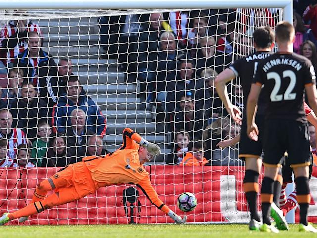 Eldin Jakupovic's penalty save confirmed Sunderland's relegation after their defeat by Bournemouth: Getty