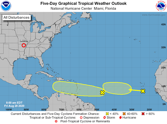 Forecasters are eyeing two areas in the Atlantic for possible tropical development over the next five days.