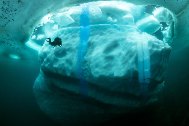 <p>Taken in Tasiilaq, Greenland, by Franco Banfi, the underwater photographs captures the beauty of underwater ice mountains. (Photo: Franco Banfi/Caters News) </p>