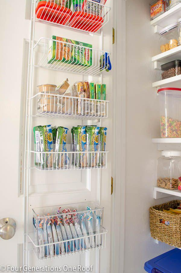"""<p>By installing a <a rel=""""nofollow"""" href=""""https://www.amazon.com/ClosetMaid-1233-Adjustable-77-Inch-18-Inch/dp/B00D8OYUTM"""">door rack</a> on the inside of her pantry door, this blogger was able to truly maximize her space-and store lots of granola bars!</p><p><strong>Get the tutorial at <a rel=""""nofollow"""" href=""""https://www.fourgenerationsoneroof.com/organized-kitchen-pantry-closet-reveal/"""">Four Generations One Roof</a>.</strong></p><p><strong><a rel=""""nofollow"""" href=""""https://www.amazon.com/ClosetMaid-1233-Adjustable-77-Inch-18-Inch/dp/B00D8OYUTM"""">SHOP DOOR RACKS</a><br></strong></p>"""