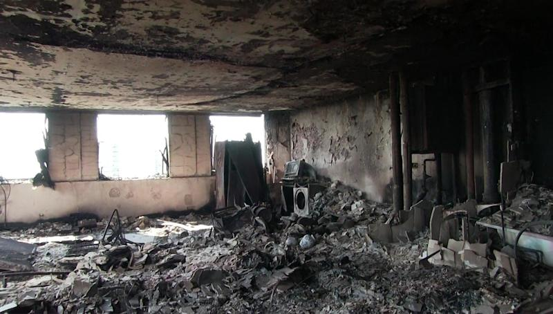 A burned out flat inside the tower