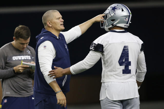 Cowboys QB coach Jon Kitna likes what he sees out of Dak Prescott thus far. (USA Today Sports/Reuters)