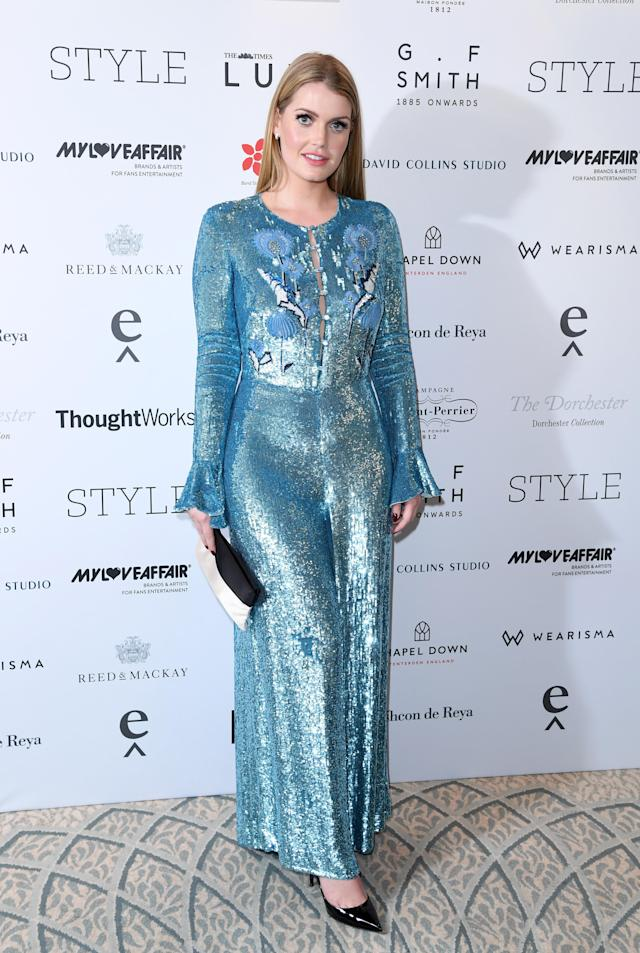<p>For the Walpole British Luxury Awards at the Dorchester, Spencer opted for a sky blue, sequined jumpsuit. (Photo: Getty Images) </p>